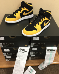 Details zu Nike Air Jordan 1 Mid Reverse New Love Black Yellow GS 554725  071 Authentic