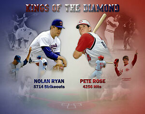 "NEW listing Nolan Ryan - Pete Rose ""Kings of the Diamond"" 16x20 photo"
