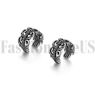 2pcs Stainless Steel Men/'s Women/'s Ear Cuff Clip On Non-Piercing Studs Earrings