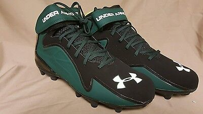 NEW UNDER ARMOUR NITRO MID CLEATS MENS SIZE 13.5 FOOTBALL LACROSSE Black//Green