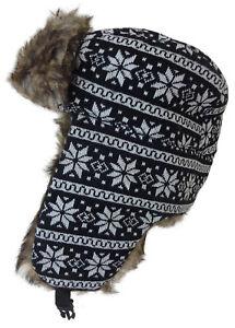 66042512c96 NEW TRAPPER HAT BLACK   WHITE SNOWFLAKE DESIGN LINED FAUX FUR UNISEX ...