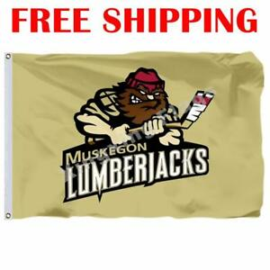 Muskegon-Lumberjacks-Logo-Flag-USHL-Hockey-League-League-2018-Banner-3X5-ft