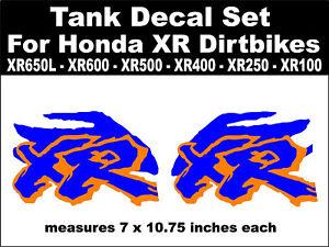 Fuel Tank decals for Honda XR650L XR600 XR500 XR400 XR250 XR100 dirtbikes Gas