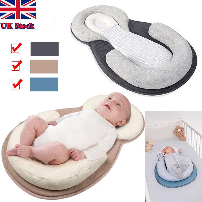 Newborn Infant Baby Pillow Cushion Prevent Flat Head Sleep Nest Pod Anti Roll UK 5