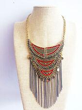 Bronze African Tribal Aztec Tassel Fringe Turkish Gypsy Bohemian Kuchi Necklace