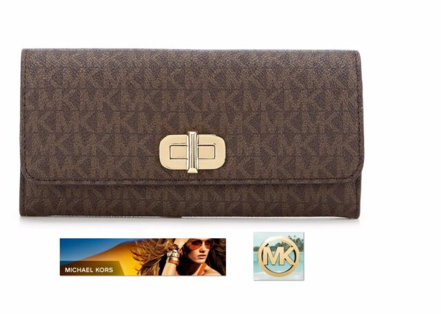 Michael Kors Sullivan Signature Carryall Wallet MK design fabric in brown 960f6b030371f