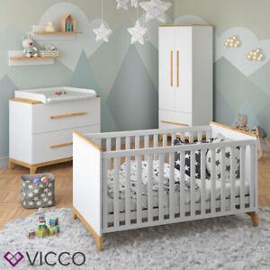 VICCO Lit bébé Commode Table à Langer Lit pour enfant 140x70 gris garde-robe