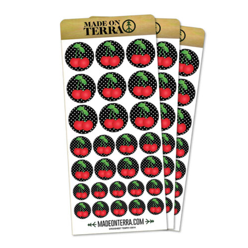 Cherries on Polka Dots Removable Matte Sticker Sheets Set