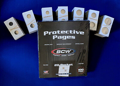 100 BCW Pro 20 Pocket Pages for 2X2 Coin Flips NEW ONE HUNDRED