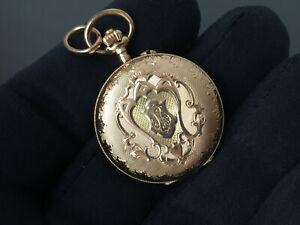 elegante, reich verzierte Damen Taschenuhr - antike Jugendstil um 1900 Gold 585