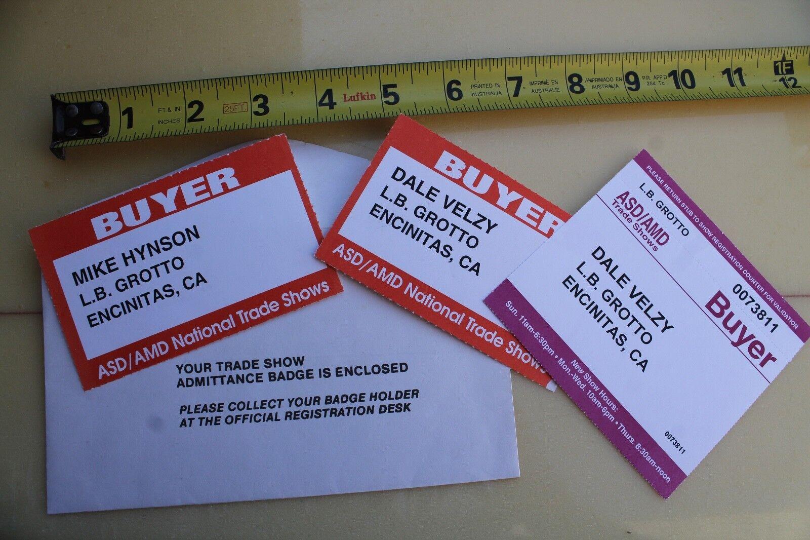 Dale Velzy   Mike Hynson Longboard Gredto Encinitas Trade Show Badge - Lot of 3