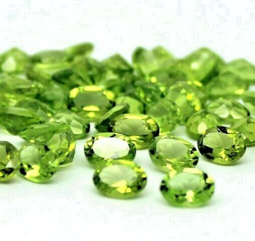 Details about  / Wholesale Lot Natural Peridot Oval Facted Cut Loose Gemstones 6X8MM