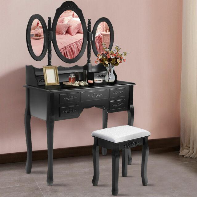 Tri Folding Oval Mirror Wood Bathroom Vanity Makeup Table Set With Stool 7