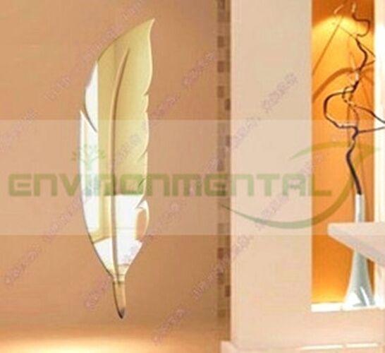 Modern Plume Acrylic Plastic Mirrors Wall ROOM Decal Decor Vinyl Art Stickers