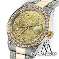 Ladies 26mm Rolex Oyster Perpetual Datejust Gold Jubilee Diamond Dial Accent