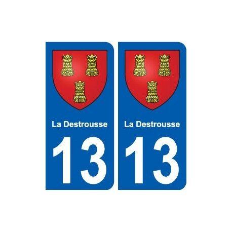 13 La Destrousse blason ville autocollant plaque sticker arrondis