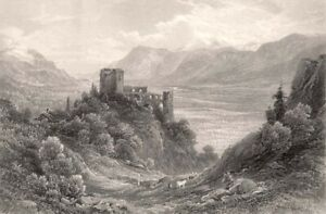 Italy-TYROL-BRUNNENBERG-CASTLE-RUINS-Castel-Fontana-1875-Art-Print-Engraving