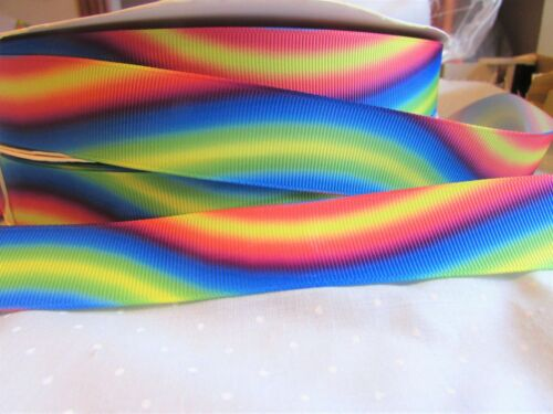 25mm Grosgrain Bright Rainbow Coloured Stripe Ribbon in 2m 5m,10m and 20m