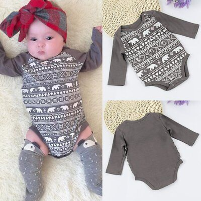 Newborn Baby Boys Girl Long Warm Romper Jumpsuit Bodysuit Cotton Outfit Clothing