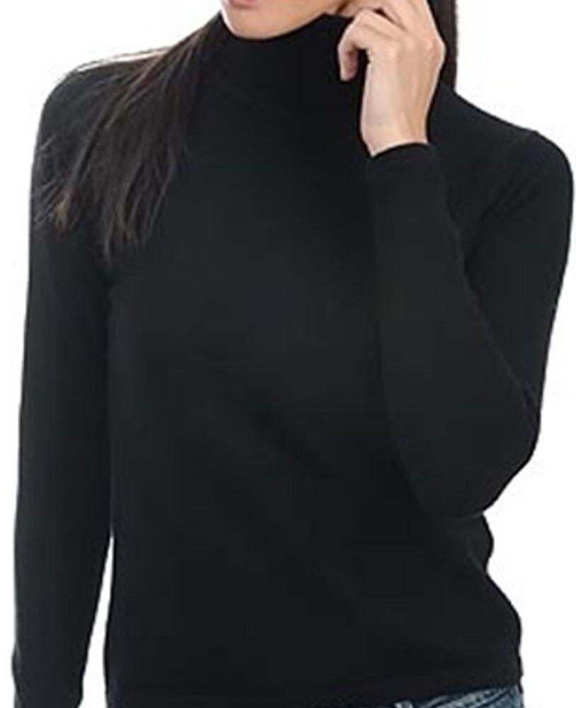 Balldiri 100% Cashmere Damen Pullover Rollkragen ohne Bündchen schwarz L