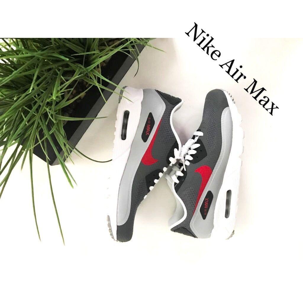 BRUND NEW Nike Air Max 90 Ultra Dimensione  8.Grigio scuro, bianco e rosso  edizione limitata a caldo