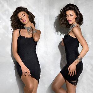 m Frange Abito Xs cocktail scamiciato Mini abito da Alina sexy Abito Da Abito donna UyYPRqaOw