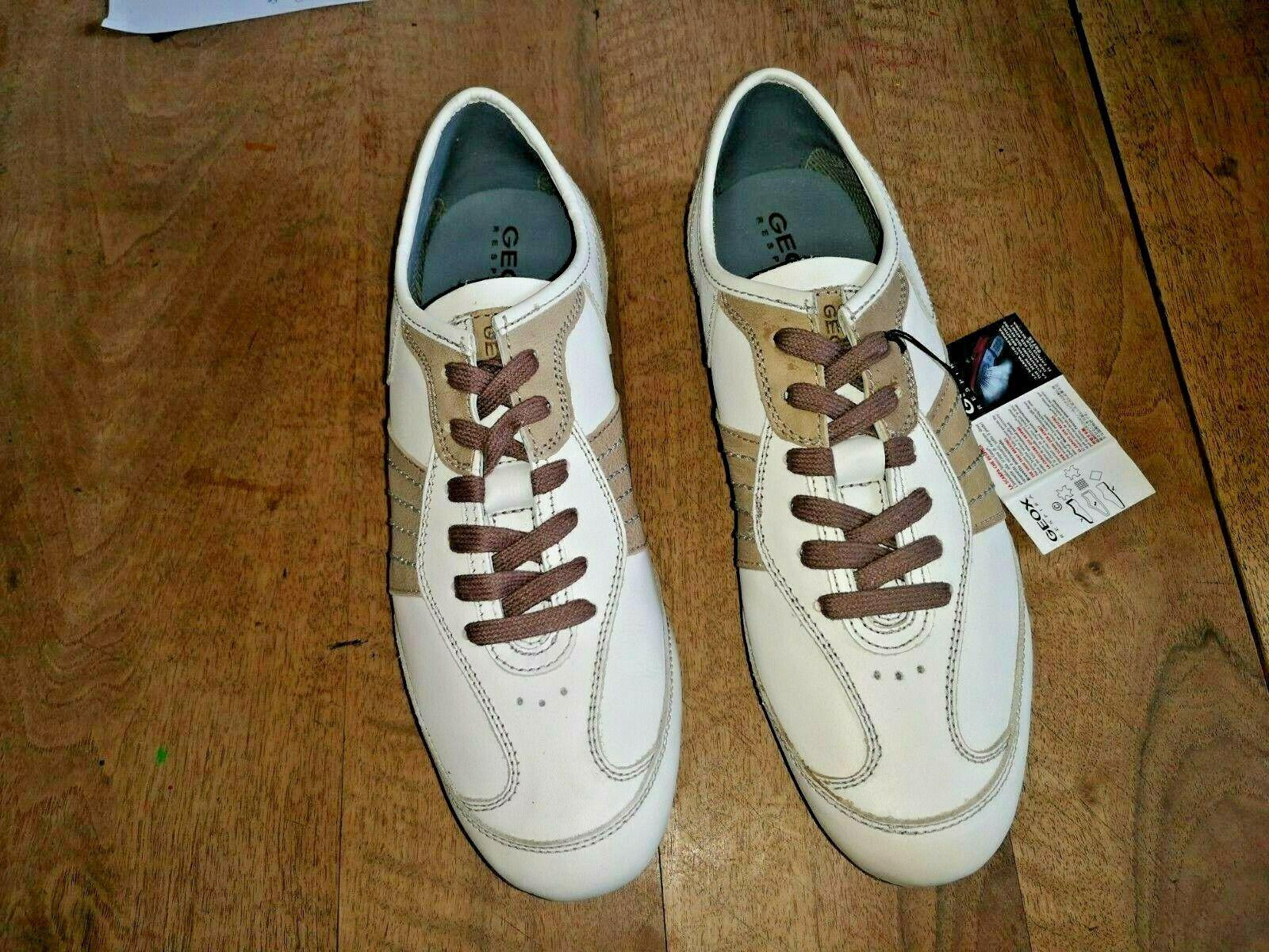 Geox Path Zapatillas Cuero blancoo Marrón Nuevo Valor 119E Talla 45