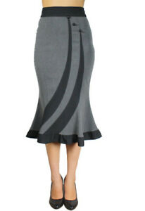 Fitted-Flared-Skirt-Plus-Size-18-to-28-Grey