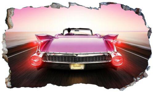 Pink Cadillac 3D Wall Smash Wall Art Self Adhesive Sticker V101*