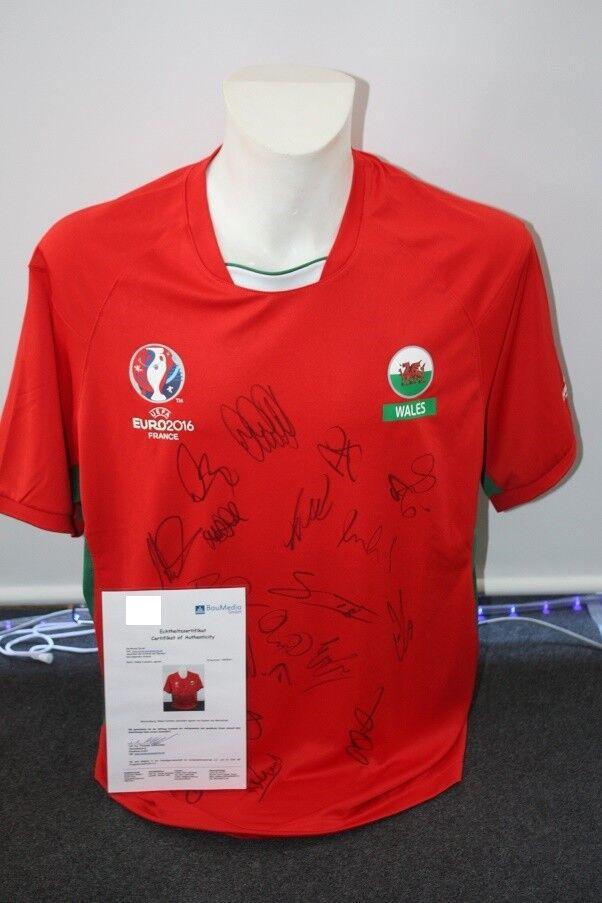 Wales Fan Trikot EM 2016, Teamsigniert, L  | Optimaler Preis
