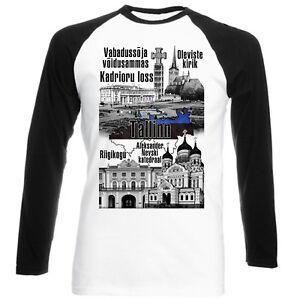 TALLINN-ESTONIA-NEW-BLACK-SLEEVED-BASEBALL-COTTON-TSHIRT