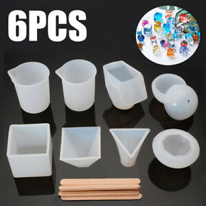 6Pcs-Resin-Casting-Molds-DIY-Silicone-Molds-Epoxy-Resin-w-Measurement-Cup-Set