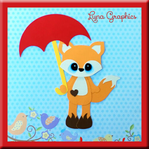 FOX WITH UMBRELLA Embellishments Paper Piecing card making and scrapbooking