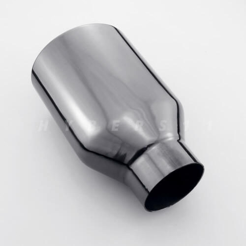 Pair 2.5 inch Black Plated 304 Stainless Steel Exhaust Tips Oval Out Resonated