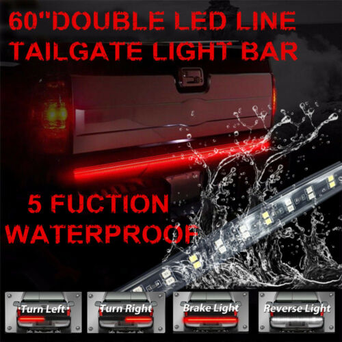 60 Inch 2-Row LED Truck Tailgate Light Bar Strip Red//White Reverse Stop Signal