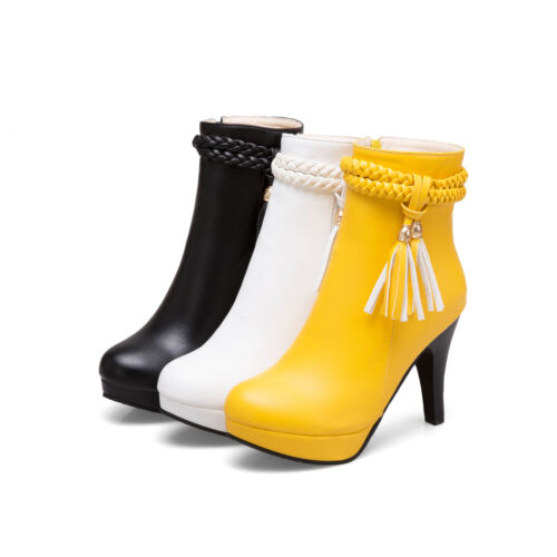 Details about  /New Women/'s Block High Heel Shoes Platform Stretchy Ankle Boots All US Size 4-11