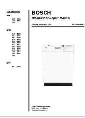 Repair Manual: Bosch Siemens Dishwashers SHE/SHI/SHU/SHV/SHX/SHY (choice of 1)