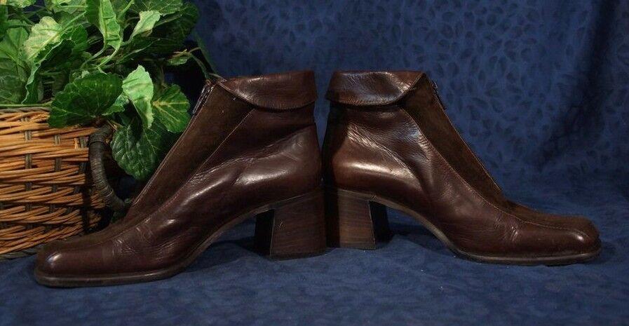 marron Suede & Leather SHAW LAVORAZIONE ARTIGIANA  Cuffed Cuffed Cuffed Zip Front bottes Sz 7.5 0b5fb8