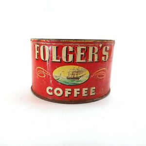 Vintage 1946 Folgers Coffee Tin Can 1 Lb Key Wind [No Lid or Key] Red w/ Ship