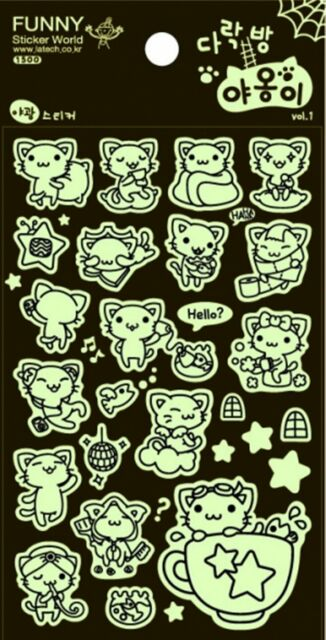 Cute Funny Noctilucent Cat Animal Stickers  Novelty craft Scrapbook Card DIY