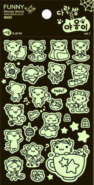 Cute Funny Noctilucent Cat Animal Stickers  Novelty craft Scrapbook Card DIY
