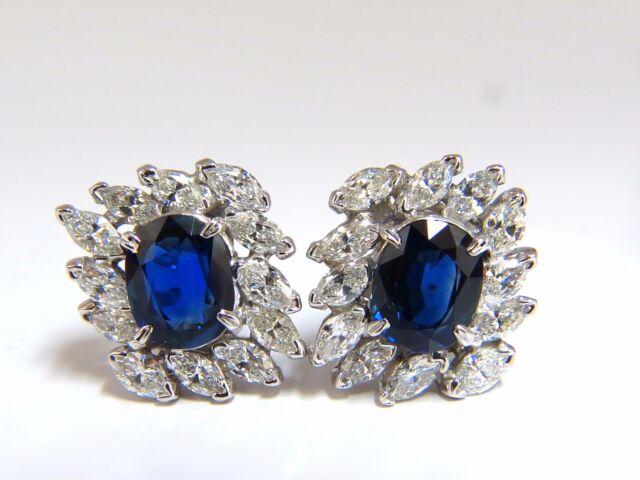 GIA Certified 11.16ct Natural Royal Blue sapphire diamond earrings Platinum