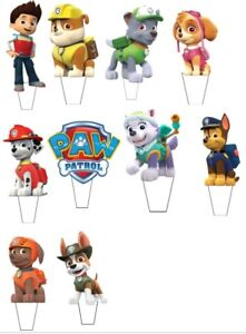 21 Paw Patrol STAND UP Cupcake PRE-CUT Topper Edible Paper ...