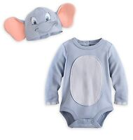 Disney Store Dumbo Baby Costume Bodysuit Outfit & Hat Size 3 6 9 12 18 24 Months