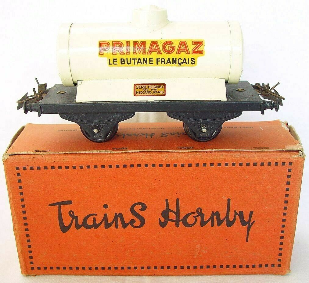 Hornby Meccano France O Gauge PRIMAGAZ TANK VAN WAGON Tin Plated Nice  scatolaed`50