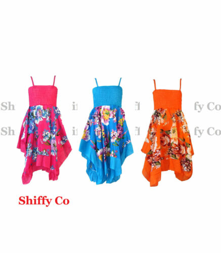 Girls Floral Summer Party Beach Maxi Dress Kids Sundress New Age 3-10 Years
