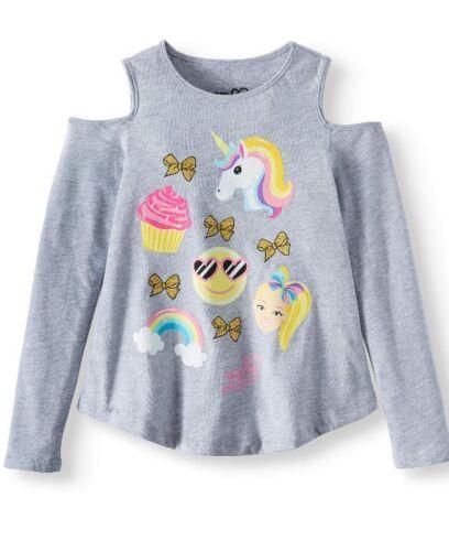 NWT JoJo Siwa Emoji Unicorn Cold Shoulder Long Sleeves Gray Shirt Sizes 4-16