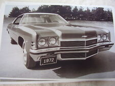 1972 CHEVROLET IMPALA  2DR HARDTOP   BIG 11 X 17  PHOTO  PICTURE
