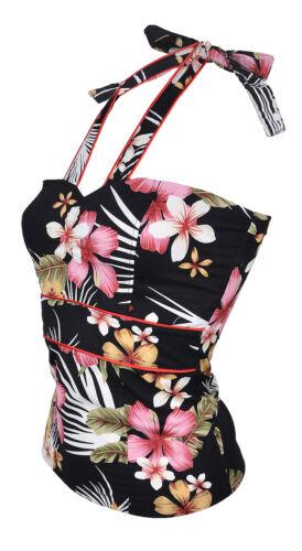 Blk Rockabilly Küstenluder LEILANI Tiki Hawaiian Flower 50s NECKHOLDER Top