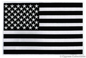Image Is Loading BLACK Amp WHITE AMERICAN FLAG EMBROIDERED IRON ON